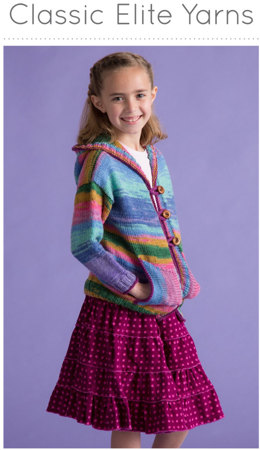 Girl's Hoodie Cardigan in Classic Elite Yarns Liberty Wool Solids - Downloadable PDF