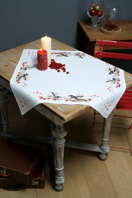 Vervaco Long-tailed Tits & Red Berry Tablecloth Cross Stitch Kit