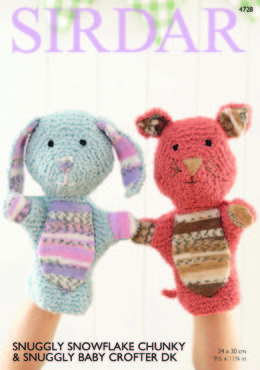 Rabbit and Cat Hand Puppet in Sirdar Snuggly Snowflake Chunky & Snuggly Baby Crofter DK - 4728 - Downloadable PDF