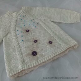 Braids & Lace Embellished Baby Sweater