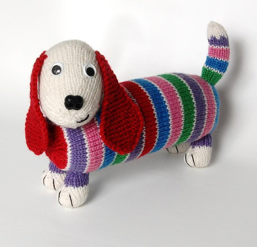 Free Animal Knitting Patterns : Dave the Stash Busting Dachshund - Knit Flat & In the Round Versions Knit...
