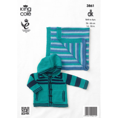 Boys' Sweater, Hoodie and Blanket in King Cole Cottonsoft DK - 3861
