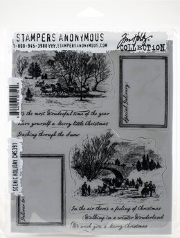 """Stampers Anonymous Tim Holtz Cling Stamps 7""""X8.5"""" - Scenic Holiday"""