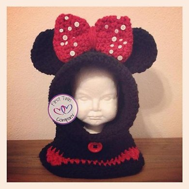 Minnie Mouse Inspired Hooded Cowl