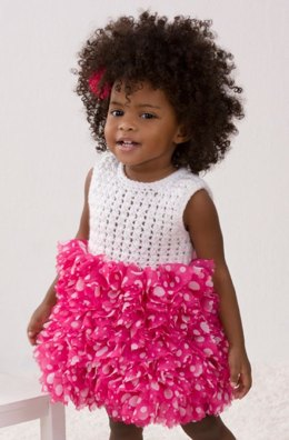 Baby's Best Party Dress in Red Heart Soft Baby Steps Solids - LW4141