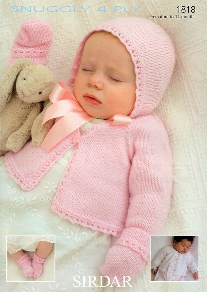 Baby Mittens Knitting Pattern 4 Ply : Cardigan, Hat, Mittens and Socks in Sirdar Snuggly 4 Ply - 1818