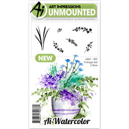 Art Impressions Watercolor Cling Rubber Stamps - Foliage 2
