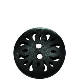 Black Carved 20mm 2-Hole Button
