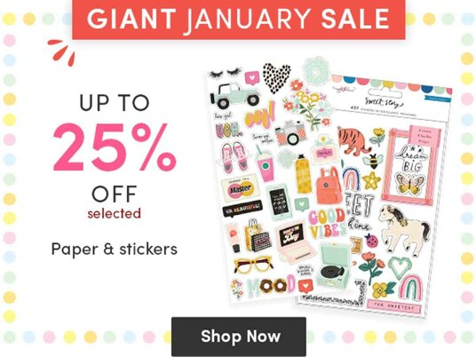 Up to 25 percent off selected paper & stickers!