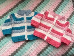 Stripe Cardigan in Three Bears Yarn Affection Aran - Downloadable PDF