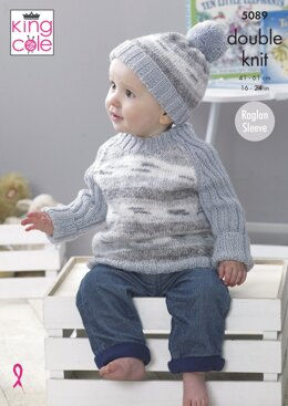 Cardigan, Sweaters & Hat in King Cole Splash DK and Big Value Baby DK - 5089 - Downloadable PDF
