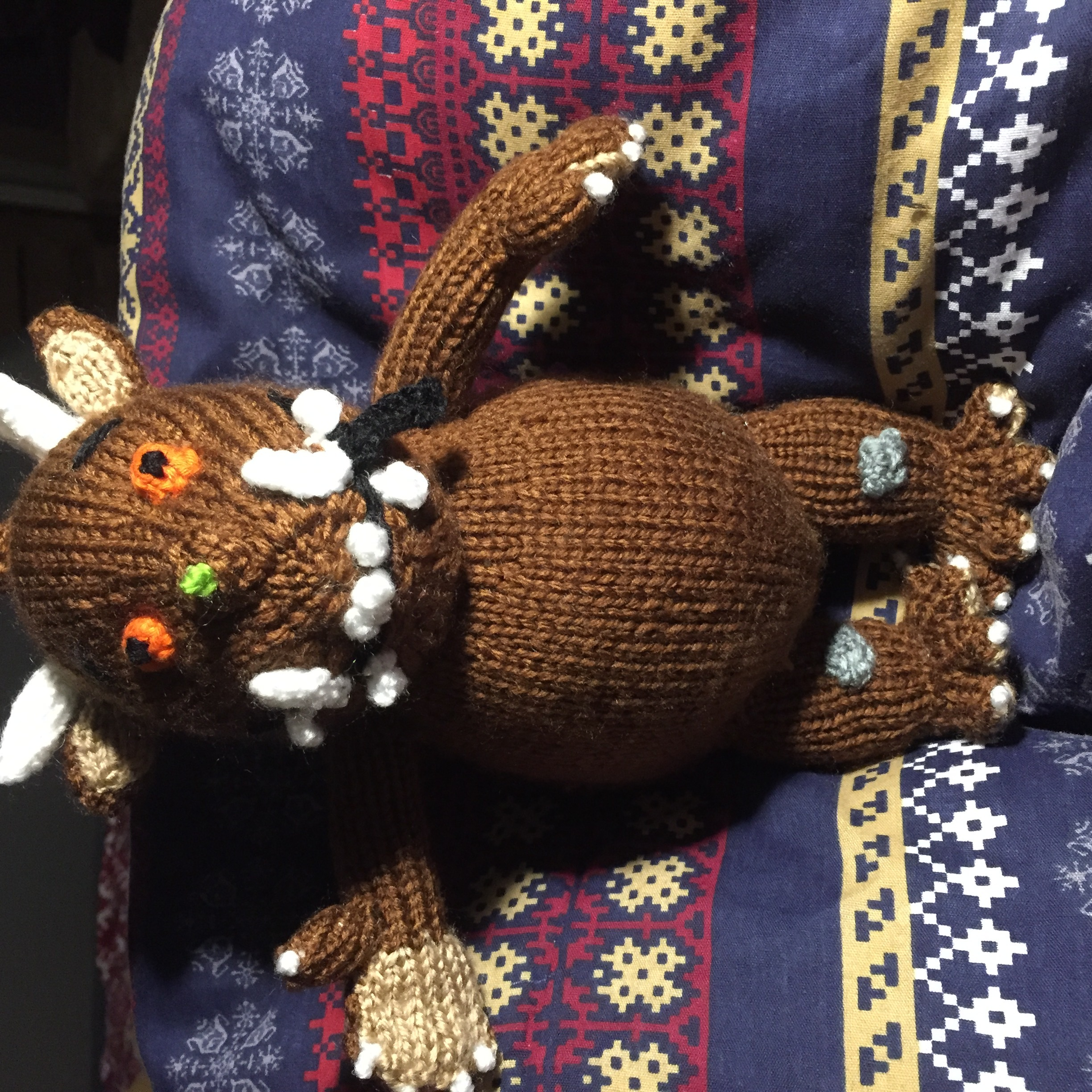 Knitted Gruffalo toy knitting project by Marcie P LoveKnitting
