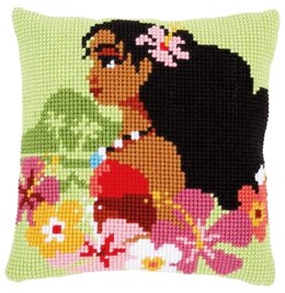 Vervaco Moana Island Girl Cross Stitch Cushion Kit - 40cm x 40cm