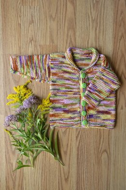 Easy Baby Cardi in Universal Yarn Bamboo Pop - Downloadable PDF
