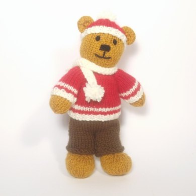 Christmas Bitsy Boy Teddy Knitting Pattern By Claire Fairall