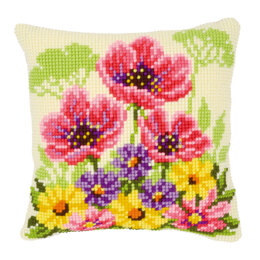Vervaco Flower Field with Poppies Cushion Front Chunky Cross Stitch Kit - 40cm x 40cm