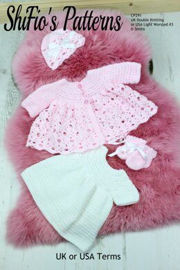 Crochet Pattern For Baby Matinee Jacket , Dress, Hat and Booties #291