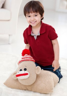 Sock Monkey Pillow Pal in Red Heart Super Saver Economy Solids - LW2510