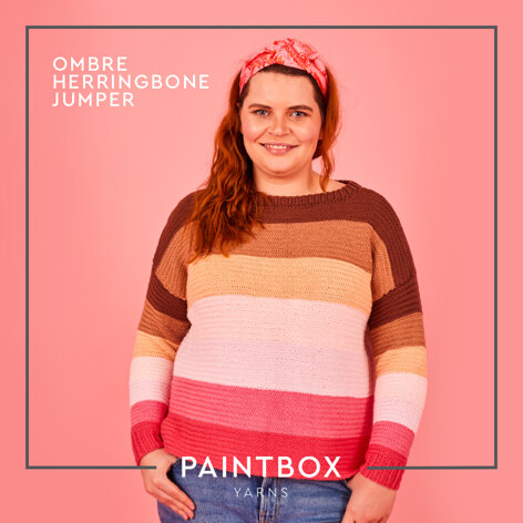 Ombre Herringbone Jumper - Free Jumper Knitting Pattern For Women in Paintbox Yarns Cotton Aran by Paintbox Yarns