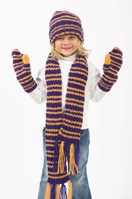 Child's Hat, Scarf & Mittens in Plymouth Encore Worsted - F214