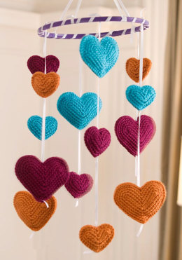 Flying Hearts Mobile in Red Heart Soft - LW2269 - Downloadable PDF