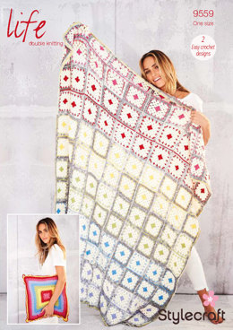 Crochet Blanket & Cushion in Stylecraft Life DK & Life Changes - 9559 - Downloadable PDF