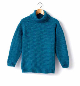 Child's Crochet Turtle Neck Pullover in Caron Simply Soft - Downloadable PDF