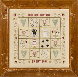 Historical Sampler Company Four Hearts Wedding Sampler Cross Stitch Kit