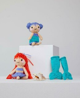 Tina & Nina Mermaid in Red Heart Amigurumi - LM6285 - Downloadable PDF