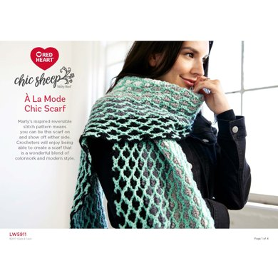 A La Mode Chic Scarf In Red Heart Chic Sheep Lw5911 Downloadable Pdf
