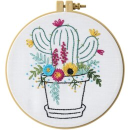 Bucilla Stamped Embroidery Kit - Cactus Bloom - 8.25in