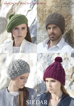 Hats and Berets in Sirdar Wool Rich Aran - 7182