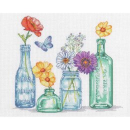 Dimensions Wildflower Jars Counted Cross Stitch Kit - 12in x 10in