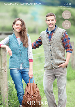 Waistcoats in Sirdar Click Chunky - 7208 - Downloadable PDF