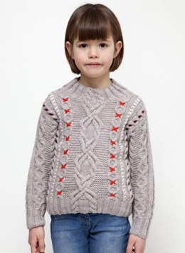 Girls Embroidered Cable Sweater in Bergere de France Barisienne - 60508-445 - Downloadable PDF