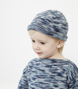 """Simple Jumper Hat"" - Hat Knitting Pattern in Debbie Bliss Eco Baby Prints"