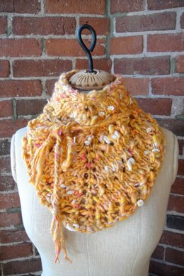 Bandana Cowl in Knit Collage Daisy Chain