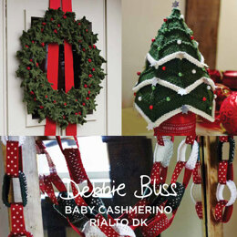 Christmas Wreath, Chains & Tree - Knitting Pattern For Christmas in Debbie Bliss Rialto DK and Baby Cashmerino by Debbie Bliss