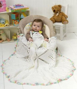 Doily Baby Blanket in Red Heart Soft Baby Steps Solids - LW2487