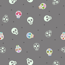 Lewis and Irene Small Things Glow - Sugar Skulls on Grey