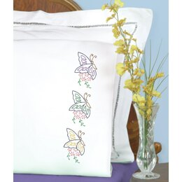 Jack Dempsey Stamped Pillowcases W White Perle Edge 2Pkg - Floating Butterflies - Multi