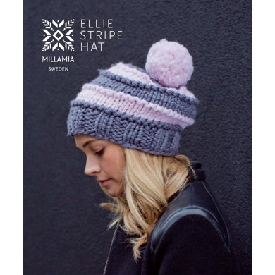 Ellie Stripe Hat In Millamia Naturally Soft Super Chunky