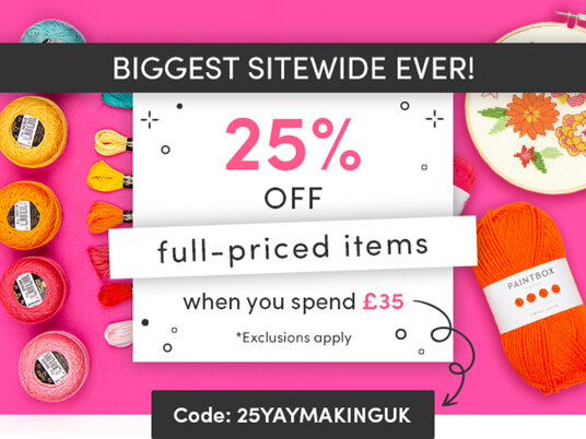 25 percent off full-priced items! Code: 25YAYMAKINGUK
