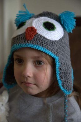 Crochet Owl Hat in Plymouth Yarn Yarnimals - F656