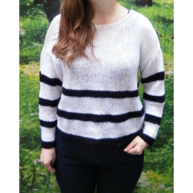 Sheer knit striped sweater