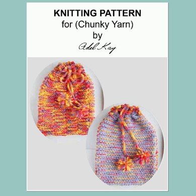 Meg Chunky Reversible Hot Water Bottle Cover Pyjama Case Bag Chunky Yarn Knitting Pattern by Adel Kay