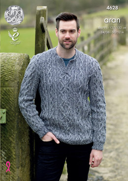 Sweater & Slipover in King Cole Fashion Aran Combo - 4628