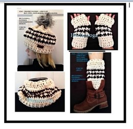 2242- Cream Hounds-tooth Hat set