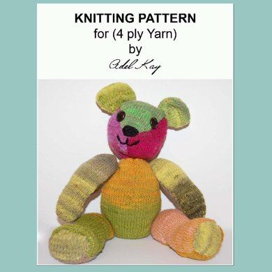 Tristan OOAK Jointed Cuddly Soft Toy 4ply Sock Yarn Teddy Bear Knitting Pattern by Adel kay