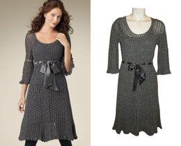 Crochet classy lacy midi dress with flare sleeves 3/4 and scalloped edges.